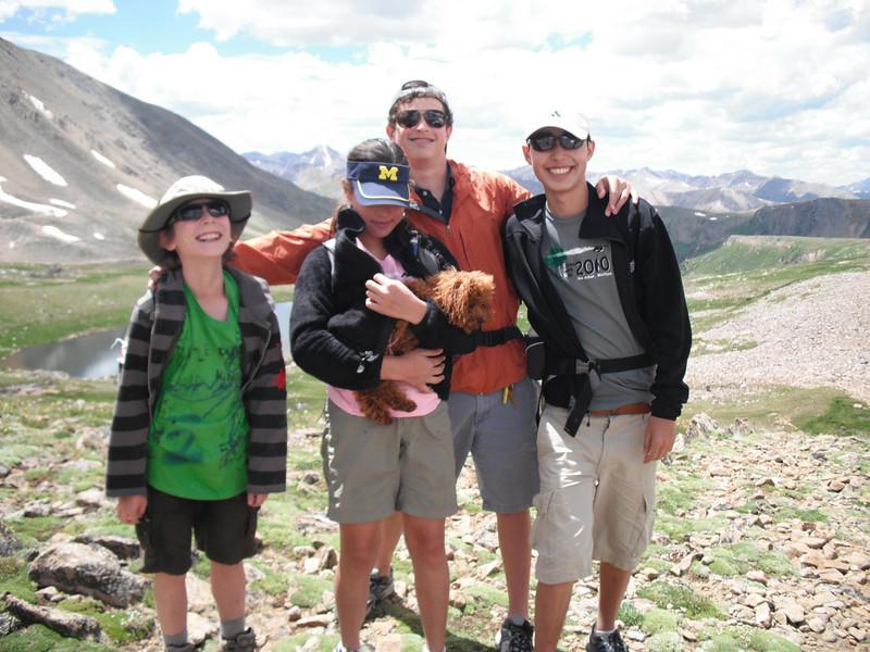 Emanuel Farhi, Sofie Aaron, Elisha Aaron, Noah Aaron, on Lost Man Trail, July 25, 2010.