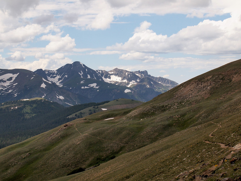 Here you get a sense of the best trail we walked. Starting at Milner Pass, you ascend through forest to the Continental Divide trail, which is obviously tundra above the treeline. The trail went to Mount Ida (we didn't make it all the way because it started to rain).