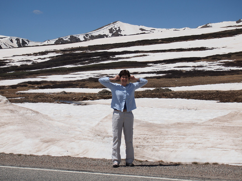 Random photo of person at Independence Pass. Clearly, there is quite a bit of snow shown here. This was one of the highest snow-pack years, and a number of places we will consider hiking may be impassable still in July at the upper altitudes.