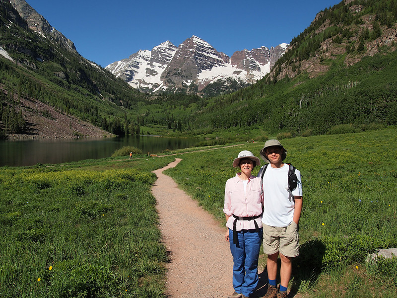 We decided to make Maroon Bells our first hike of the season.  here we are at Maroon Lake (altitude, 9,580 ft.), ready to trek up to Crater Lake. It is only 1.6 miles from this lake to Crater, but it is a rocky climb, steep in a number of places.