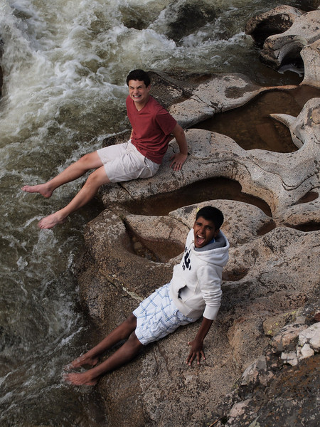 Both boys trying to show how manly they are...while screaming at the top of their longs. Since when are cold feet manly?