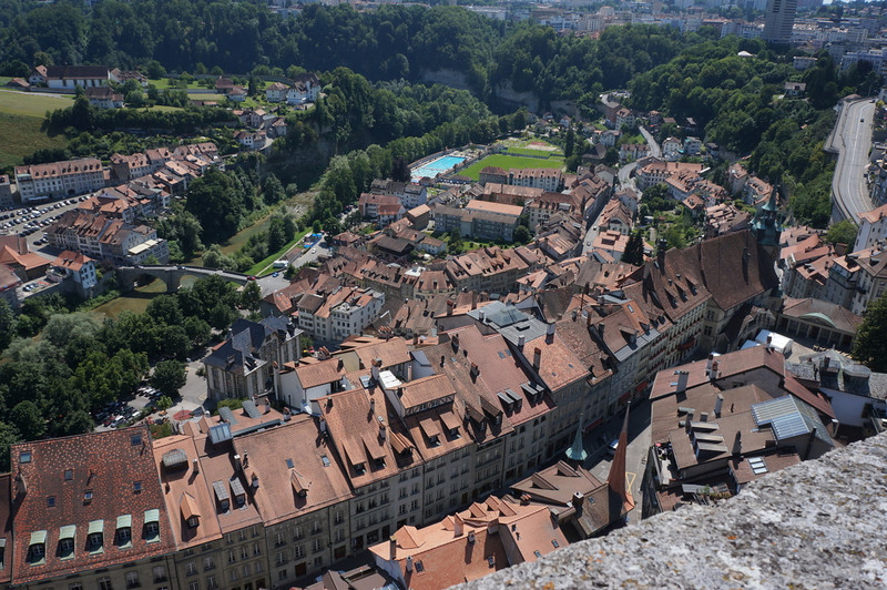 Old city of Fribourg from atop the steeple of St. Nicholaus.