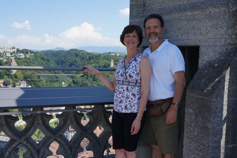 Atop the cathedral in Fribourg.