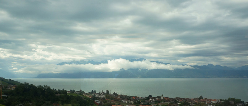 We set out from Lausanne for Bern on a cloudy morning (taken from train).