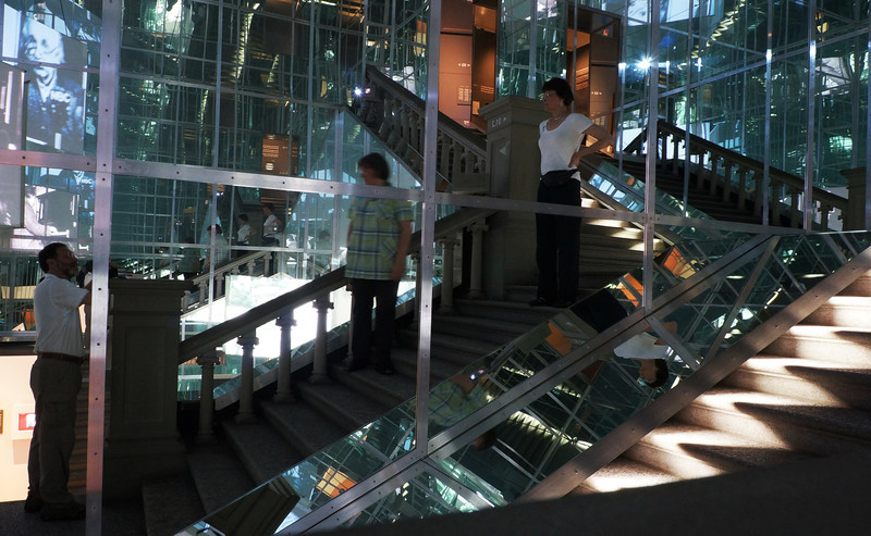 "We visited the Bernisches Historisches Museum, which also houses the ""Einstein Museum."" To get up to the upper level of the Einstein exhibit, you had to walk through this stairwell of mirrors."