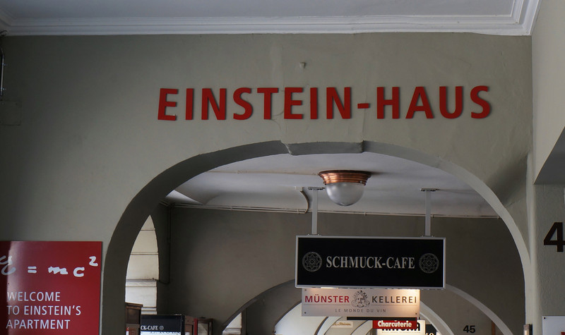 """We were going to meet friends on the Muensterplatz, but along the way stumbled on """"Einstein's House,"""" or what was his house from 1903-1905--the very years he wrote the five papers that would capture the Nobel Prize and change 20th century physics."""