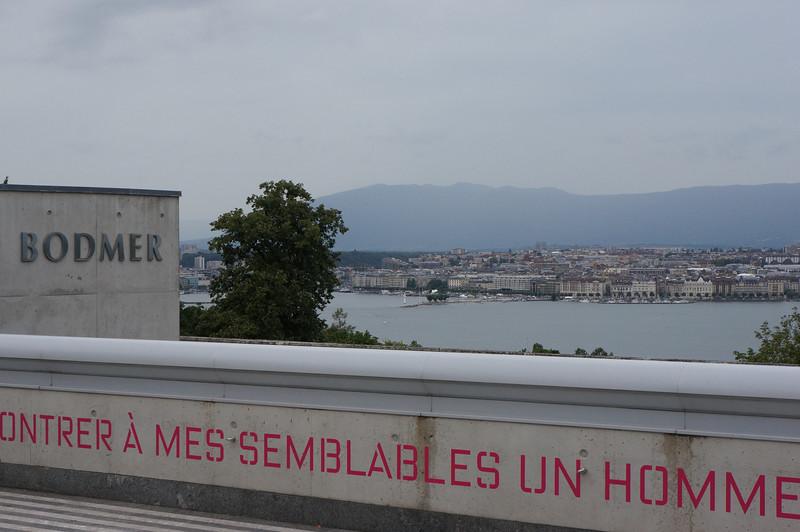 View of Lake Geneva, as it began to rain.