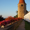 """The Avenches Opera Festival, which takes place in the amphitheater, was a couple of weeks ago. Unfortunately, the tents for refreshments were still set up, littering the castle hill. Hence, the """"white wall."""""""