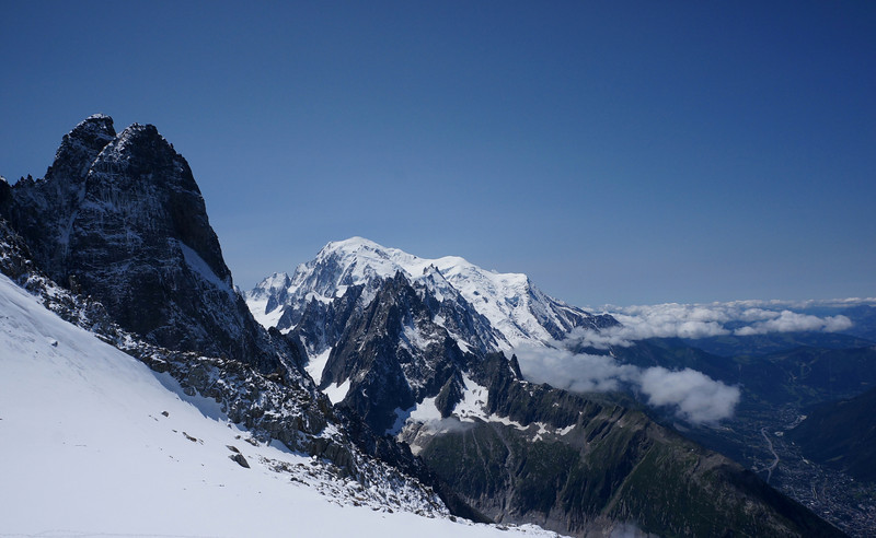 Mont Blanc in the center of the image, above Chamonix valley.