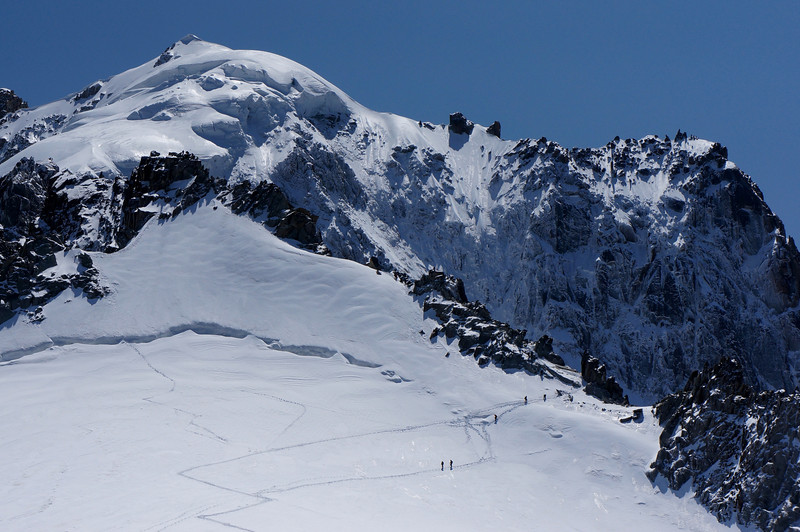 Looking up from Grands Montets, at the top left, Aiguilles Vertes (4121m, 13,520ft); to the right is Dent du Geant (4013m).