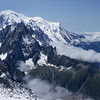 "Mont Blanc (4810m, 15,780), as seen from Grands Montets. The secondary right, closer in the photo, is ""Mont-Blanc Du Tacul,"" at 4248m."