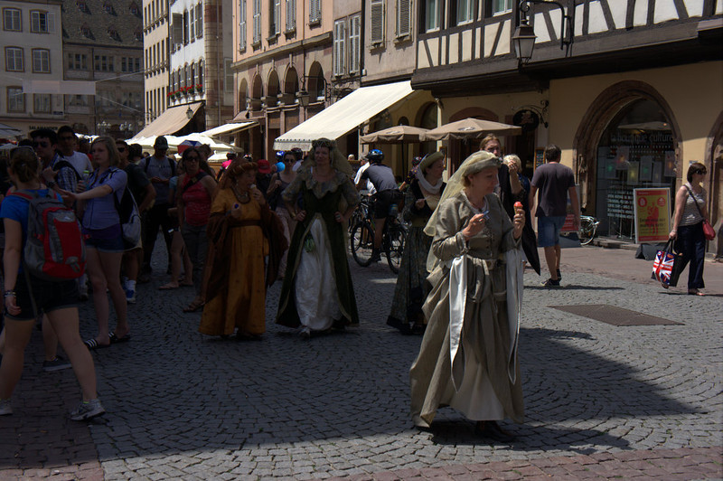 There was a festival taking place, with people in costume on the Cathedral's square. Here, a couple of medieval women enjoy a modern ice cream cone.