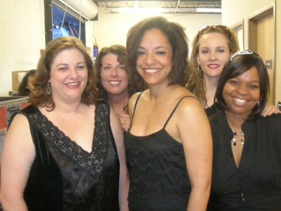The Smiley Girls right before we went onstage at the Miller Lite Oasis! L>R front: Ellen Winters, Rhonda Begos, Jocelyn Young  L>R back: Alaria Taylor, Carmen Nickerson
