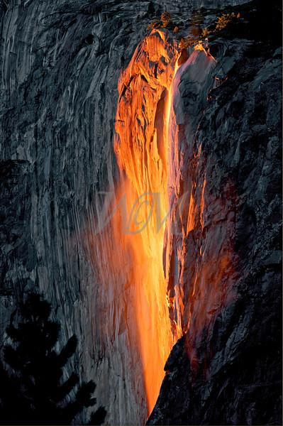 Natures Fire Fall: Horsetail Falls at sunset, Yosemite National Park, California