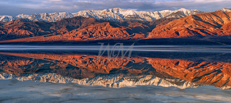 Death Valley: Flooded Salt Flats at Badwater with Telescope Peak in Snow