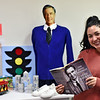Checking out a display in the Big Room classroom at Groton Community School is teacher Natalia LaManna of Lunenburg, the display shows Fred Rogers theme which is the schools theme for the year. SUN/ David H.Brow