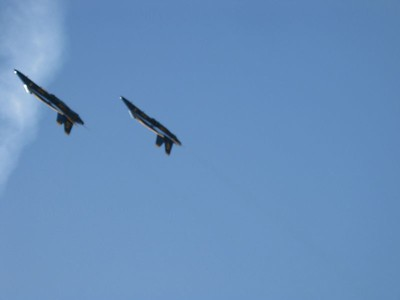 Two blue angels inverted pass