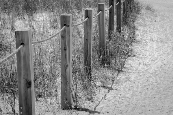 Beach fence in black and white...
