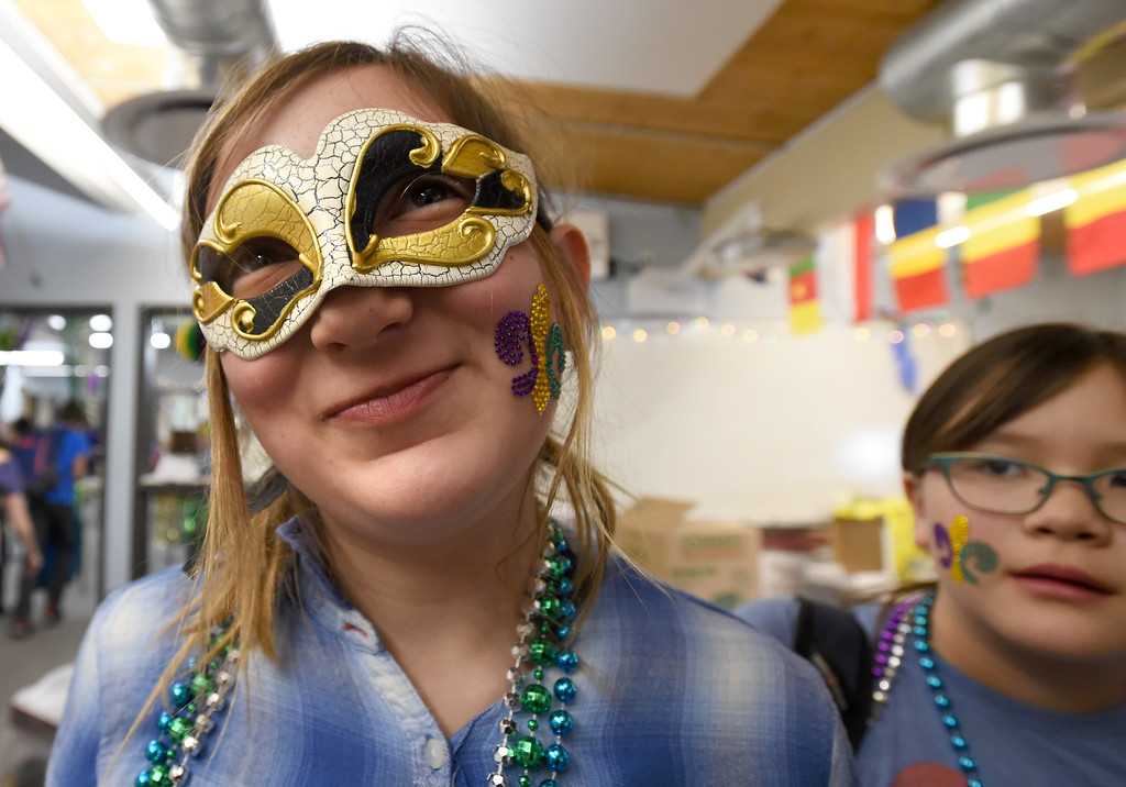 ". Imogen Kistner, a sixth-grader, shows off her Mardi Gras mask during class on Tuesday. Beginning French students at Summit Middle School celebrated ""Fat Tuesday\"" of Mardi Gras today. Summit Middle School has submitted its formal application to open a charter high school.  For more photos, go to dailycamera.com. Cliff Grassmick  Photographer  February 13, 2018"