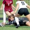 Edward Little High School goalkeeper Hailee Brown makes a save during Friday's game against Brunswick High School in Auburn. Daryn Slover/Sun Journal