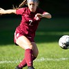 Ava Braunscheidel of Edward Little High School moves the ball up the field during Friday's game against Brunswick in Auburn. Daryn Slover/Sun Journal