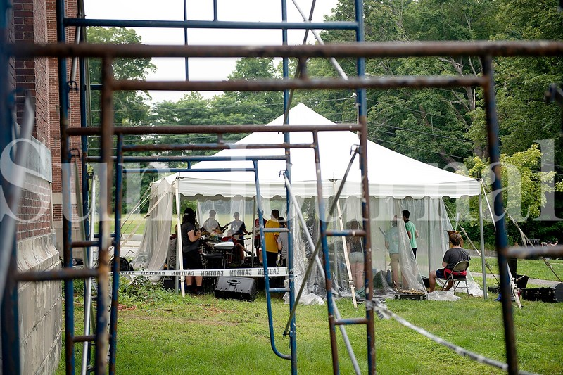 This summer's Camp of Rock is being held under a tent as a COVID-19 precaution and for added space. The kids voted to call the band Inattentive because of the tent rehearsal space.