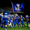 The Mountain Valley High School football team takes the field during Friday night's football game against Dirigo High School in Rumford.