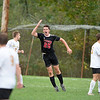 Levi Tibbetts of Lisbon High School reacts after he headed the ball into the back of the net during the second half of Tuesday's game against Hall-Dale High School. Tibbetts' goal put the Greyhounds up 2-1.