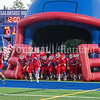 OAKLAND, ME - SEPTEMBER 10: Messalonskee Eagles run onto field threw Maine National Guard's giant inflatable helmet before a football game against Edward Little Friday September 10, 2021 in Oakland. (Staff photo by Joe Phelan/Staff Photographer)