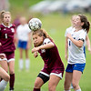 Averie Silva of Monmouth/Winthrop heads the ball during Wednesday's game against Mt. Abram in Monmouth.