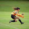 Monmouth/Winthrop goalkeeper June Foyt grabs a shot on goal during Wednesday's game against Mt. Abram.