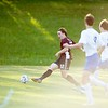 Hayden Fletcher of Monmouth Academy shoots on goal during Wednesday's game against Oak Hill High School. Fletcher scored on the play to put the Mustangs up 7-2. Daryn Slover/Sun Journal