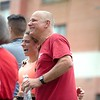 Lauren Lecompte celebrates with her father, Mike Lecompte, Sunday after finishing the Triple Crown 5K in Auburn. Photo by Daryn Slover/Sun Journal