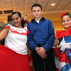 Shown here after preforming Hispanic Dance at Enterprise Bank's holiday celebration is L-R, Nayelitza Bermudez, 16, Jose Molina, 14 and Luz Molina, 10, they are from the Center for Bilingual Services:Acre Girls, and from Lowell. SUN/ David H. Brow