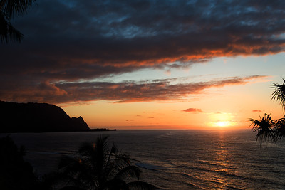 Richards___Kauai Sunset with Makana Mountain in the foreground