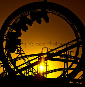 Roller Coaster at Sunset on Brighton Beach Pier