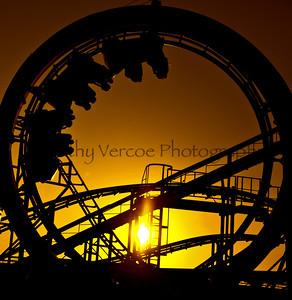 Roller Coaster at Sunset on Brighton Beach Pier
