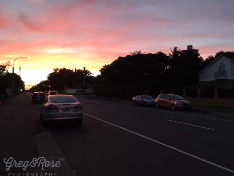 Sunrise intensified on my morning walk.