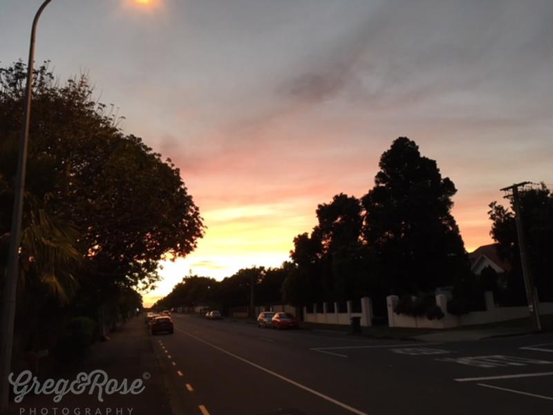 Sunset on a street