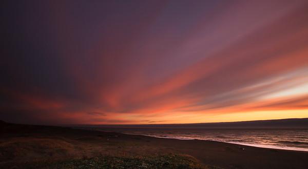 Sunset on Matolle Beach, California