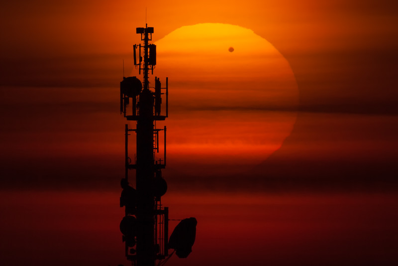 Transit of Venus behind Communication Tower