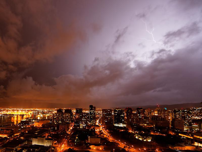 Lightning above Honolulu