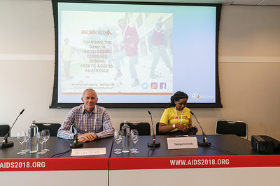 22nd International AIDS Conference (AIDS 2018) Amsterdam, Netherlands.   Copyright: Matthijs Immink/IAS  Photo shows left to right: Brian Brink, Taonga Kennedy