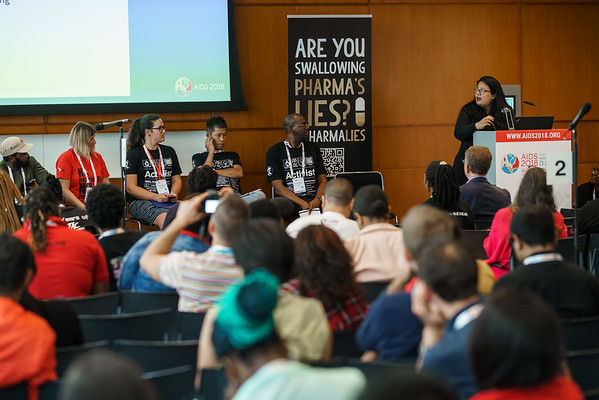 22nd International AIDS Conference (AIDS 2018) Amsterdam, Netherlands.   Copyright: Matthijs Immink/IAS  Photo shows (panel left to right):  Anele Yawa, (TAC), South Africa  Lorena Di Gianno Natalia Khilko, ITPC RU, Russian Federation  Loon Gangte, ITPC South Asia, India  Ivan Cruickshank, CVC, Jamaica  RD Marte, APCASO, Thailand