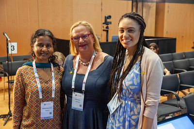 The Netherlands, Amsterdam, 22-7-2018.  Speakers, co-chairs, core group members and audience at Generation Now, Our Health, Our Rights. Manjulaa Narasimhan, Katja Iversen, Lori Adelman.  Photo: Rob Huibers for IAS. High resolution file. (Please publish always with complete attribution).
