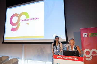The Netherlands, Amsterdam, 22-7-2018.  Speakers, co-chairs, core group members and audience at Generation Now, Our Health, Our Rights. Linda-Gail Bekker speaking.  Photo: Rob Huibers for IAS. High resolution file. (Please publish always with complete attribution).