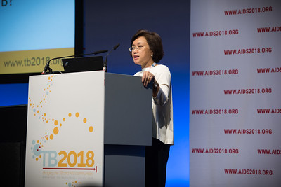 22nd International AIDS Conference (AIDS 2018) Amsterdam, Netherlands   Copyright: Marcus Rose/IAS  Photo shows: TB 2018: Bridging the TB and HIV Communities. Welcome to Amsterdam Adeeba Kamarulzaman, University of Malaya, Malaysia.
