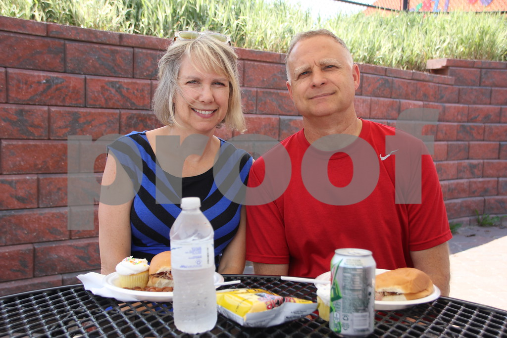 On Sunday, June 12, 2016, Fort Frenzy in Fort Dodge, held the 2nd Annual Hero's Picnic Fundraiser for Forces to raise money for Veteran's assistance programs. Seen left to right is: Shari and Curt Lehman enjoying the picnic.