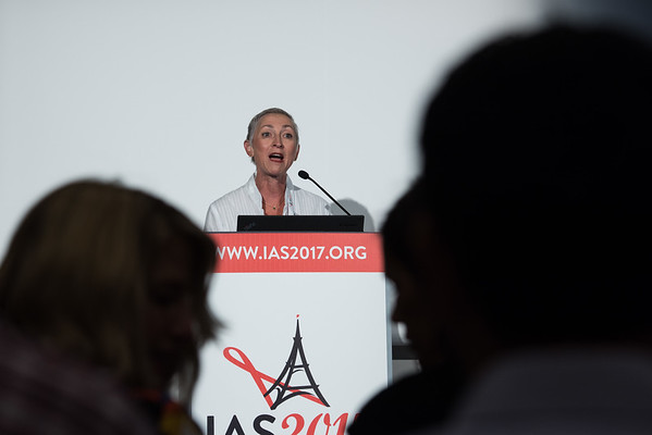 9th IAS Conference on HIV Science (IAS 2017) Paris, France. Copyright: Marcus Rose/IAS Image Shows: Mind the Gap (SUSA01) Welcome and objectives: Linda-Gail Bekker, Desmond Tutu HIV Centre, South Africa.