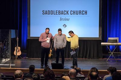 Irvine Sunday worship - introduction of new Worship Pastor David Quinones - photo by Allen Siu
